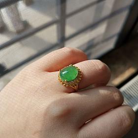 天然冰种果阳绿足金戒指