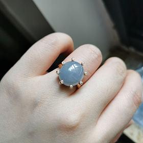 吐血价!糯冰种紫罗兰翡翠18K金钻石戒指