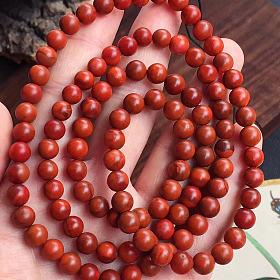 瓦西南红玛瑙108佛珠多圈手链 包浆料南红佛珠手串吊坠配链毛衣链 母亲节节日礼物
