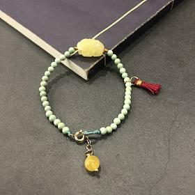 古风小清新原矿绿松石搭配蜜蜡手串