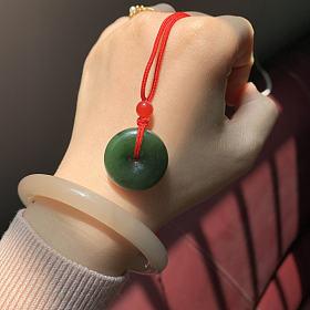 菠菜绿平安扣➕翡翠如意头吊坠