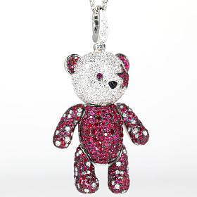 18K白金满镶钻石红宝石小熊吊坠