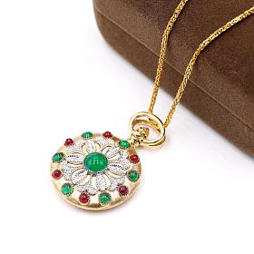 18K黄金钻石祖母绿红宝石吊坠相片夹香囊多用款
