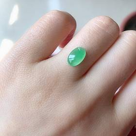 天然A货冰种果绿色翡翠裸石戒面起荧光