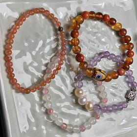 亏出:50/件 南红玛瑙 月光石红纹石 紫水晶手链
