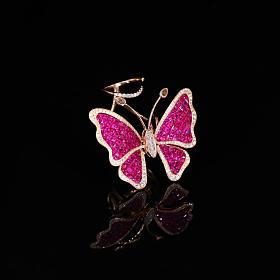 玫瑰金无边镶嵌红宝石钻石蝴蝶戒指