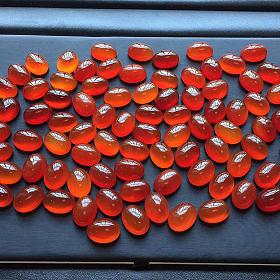 保山冰红戒面蛋面裸石镶嵌18K金DIY半成品宝石橙红色戒指吊坠两用款琥珀色手链