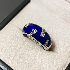 法贝热制造商 Victor Mayer 18k 珐琅 戒指