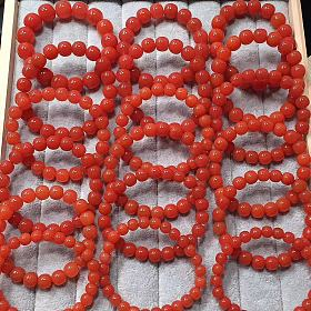 凉山南红玛瑙联合料樱桃红老型珠手串佛珠 南红吊坠项链戒面配饰