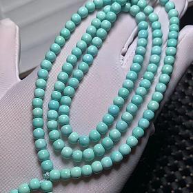 天然原矿高瓷秦古料绿松石老型珠108佛珠多圈手链手串项链毛衣链吊坠配链