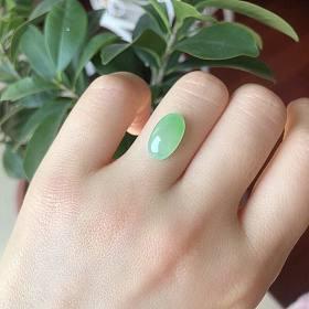 天然A货冰种果绿色翡翠裸石戒面裸石
