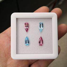 粉摩根石,海蓝宝石完美撞色