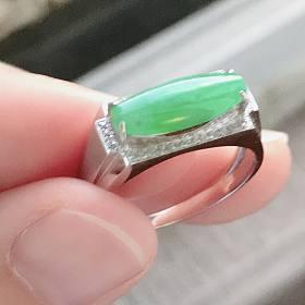 18K厚金镶嵌 超大超厚翡翠戒指 无纹无裂
