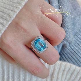18K金 4.1ct 圣玛利亚 海蓝宝 戒指