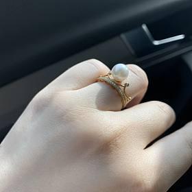 真金真钻珍珠皇冠戒指