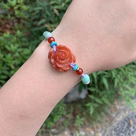 打包出一条月光花蔷薇手链+南红花手链