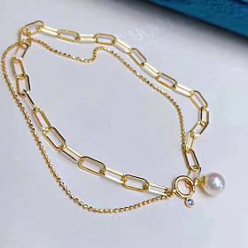 最新最火爆的链条手链 粗版细版都有 珍珠大小可挑