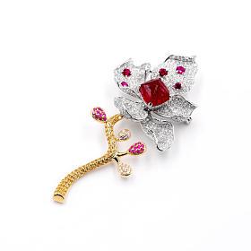 手工立体款18K黄白金红尖晶钻石花朵吊坠胸针两用款
