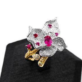 手工立体款18K金红宝石钻石花朵戒指
