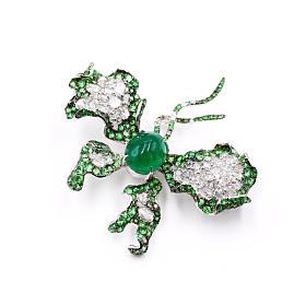 手工款18K白金钻石祖母绿蝴蝶胸针