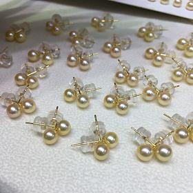 团4.5-5mm 天然羽皇金akoya海水珍珠耳钉