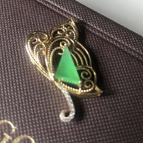 绝地武士尖晶戒指 阳绿翡翠花丝蝴蝶