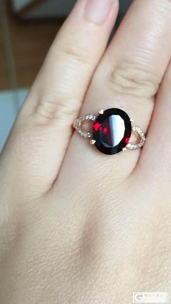逛珠宝市场偶然买的成品石榴石戒指_石榴石刻面宝石