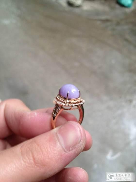 自己镶嵌的紫罗兰戒指镶嵌前后图~~_翡翠