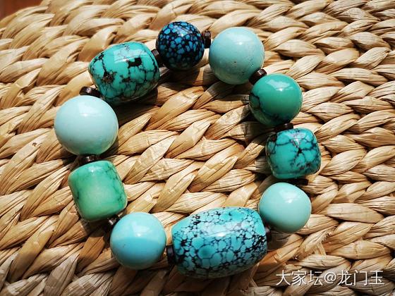 大珠子重新定妆,算是绿松多宝吗?哈哈_玉髓玛瑙鸡血藤松石
