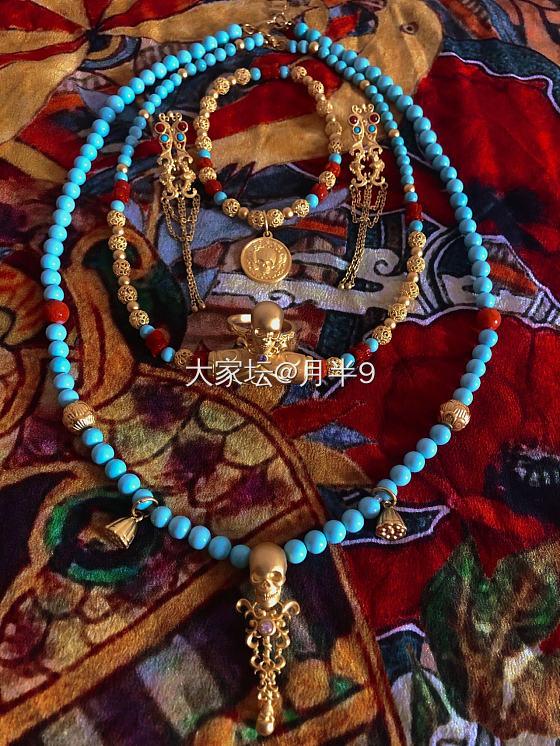 第一次发帖,有点紧张呀~米多珠宝骷髅绿松石有机宝石花丝古法金_珠串文玩