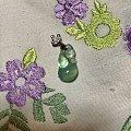 钻石小鸟18K白项链,精品葡萄石雕件吊坠,玻璃体紫牙乌散珠