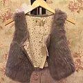 全新欧时力紫灰色兔毛马甲 欧碧倩羊毛经典短款洋装