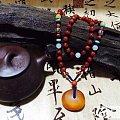 新配的老蜜蜡南红项链,全品的墎子。