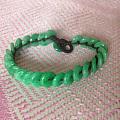 天然A货翡翠满绿平安扣手链手串