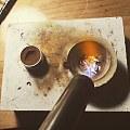 散碎银子用翻沙法做了一个小香插