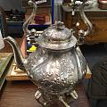 欧洲老银茶壶,可以用酒精灯保温