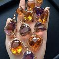 18k金镶嵌天然紫水晶,黄水晶,紫黄晶!千禧切工,火彩超好!