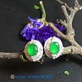 阳绿翡翠耳钉