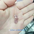可爱粉晶猫吊坠