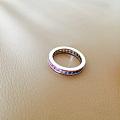 转蓝宝石戒指18K白金镶嵌