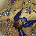 1870年古董扇形别针。14K金,镶嵌钻石红宝石。难得的是保存完美。