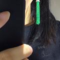 模特展示祖母绿流苏耳坠
