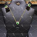 18K金钻石VVG4MM正圆形素面祖母绿锁骨项链