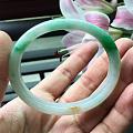 【祝愿】天然老坑翡翠A货飘阳绿贵妃镯 正翠阳绿 水头好 带黄翡花