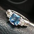 海蓝宝公主方银戒指