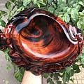 老挝大红酸枝精品【笔洗或烟灰缸】福寿双全,纹理一流,设计精美