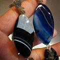 月光石随形+蓝色玛瑙长项链