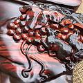 老挝大红酸枝大丰收茶盘,整料独板,雕刻打磨精美