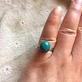 纯天然硅孔雀石925银戒指