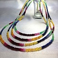 看这里!看这里!红宝石、蓝宝石、祖母绿、黄蓝宝多宝刻面锁骨链